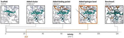 An illustration depicting the protein engineering of metalloenzyme catalytic activity