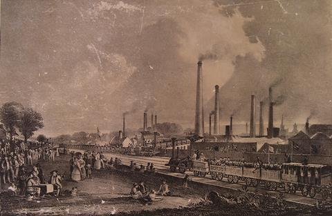 St.Rollox Chemical Works at the opening of the Garnkirk & Glasgow railway in 1831, by D.O.Hill