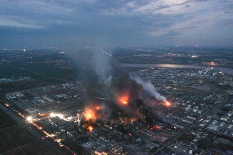 An image showing the blast in the Industrial Park In Yancheng