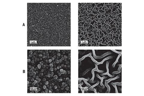 Electron micrographs of the Turing-type PA membranes. (A) Low-magnification SEM images of the two membrane surfaces. (B) High-magnification SEM images of the two different structures.
