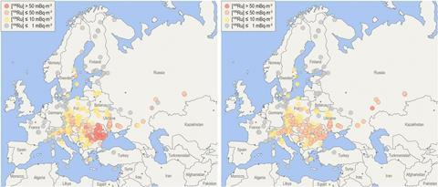 An image showing a (Left) map of uncorrected average concentrations at European stations, and (Right) map of 7-d corrected average concentrations (based on average plume duration of 7 d at each location)
