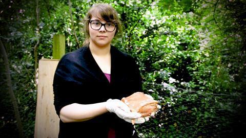 Megan Owens at Wrexham Glyndwr University body farm