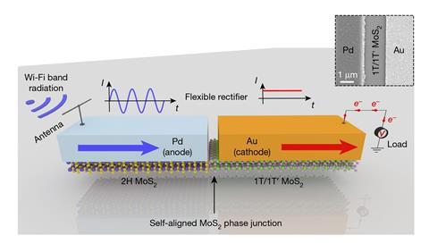 A scheme showing the flexible rectenna based on a 2D self-aligned MoS2-heterostructure Schottky diode
