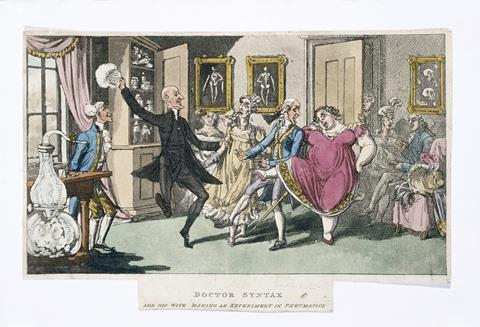 Doctor and Mrs Syntax, with a party of friends, experimenting with laughing gas. Coloured aquatint by T. Rowlandson after W. Combe.