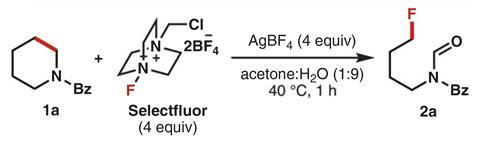 Optimization of silver-mediated deconstructive fluorination of N-Bz piperidine