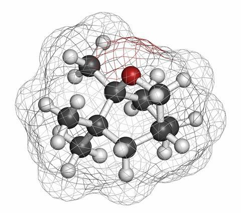 An image showing the structure of eucalyptol, which is the eucalyptus oil molecule