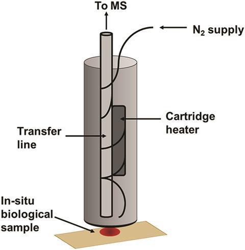 Diagram of a desorption off surface (DOS) probe