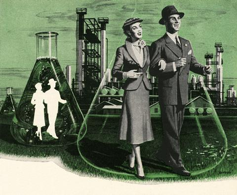 A vintage illustration showing a couple stepping out of chemistry beakers
