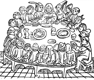 A woodcut from William Caxton's second edition of The Canterbury Tales printed in 1483