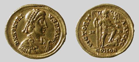 Gold Solidus Honorio  Mediolanum 394 395 AD