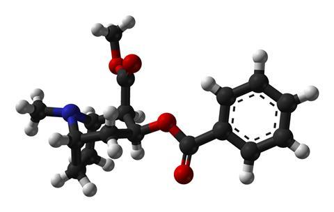 Ball-and-stick model of the (−)-cocaine molecule, C17H21N1O4, as found in the crystal structure.