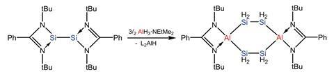 A scheme showing a new method for preparing a siliconaluminum heterocycle