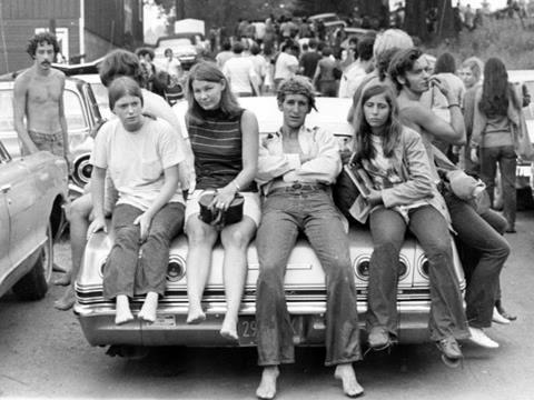 Teenagers and young adults outside Woodstock