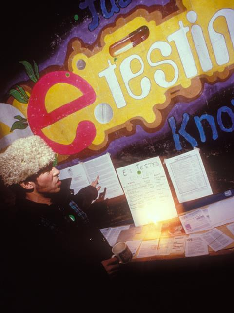 Information point on Ecstacy pills and other drugs, rave, London, UK, 1990s.