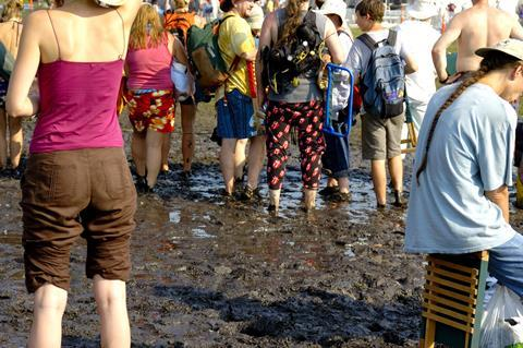 Music festival in the mud