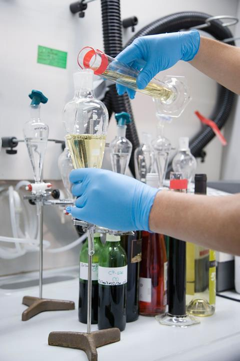 Testing for polluting agents in wine
