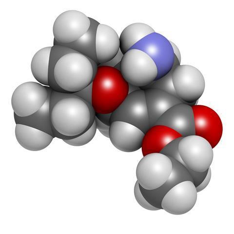 Oseltamivir influenza virus drug, chemical structure