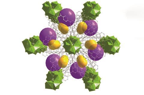 A porous coordination polymer with a large aromatic organic surface and a low binding energy for high CO2 separation from four-gas mixtures at ambient temperature