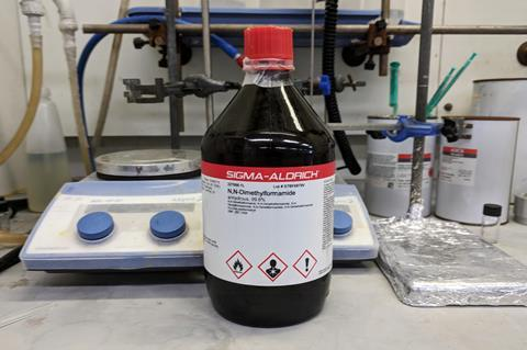 An image showing a bottle of N,N-Dimethylformamide