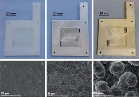 Photographs and scanning electron microscope images of an uncoated flow plate and with various layers of silver