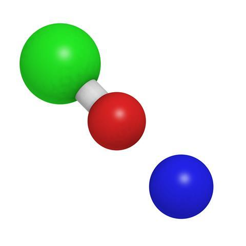 Sodium hypochlorite (NaOCl), chemical structure. NaOCl is used in household bleach, in water treatment and for disinfection