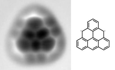 Triangulene chemical structure and AFM image