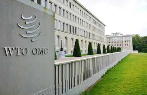 A photograph of the World Trade Organization headquarters in Geneva, Switzerland