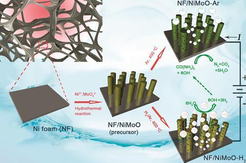 Schematic illustration of the preparation of NF/NiMoO-Ar as a UOR catalyst and NF/NiMoO-H2 as a HER catalyst
