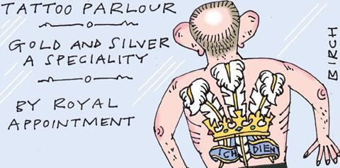 cartoon of man with tattoo