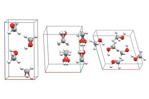 Experimental crystal structures for the a (left), disordered b (middle), and g (right) polymorphs of methanol
