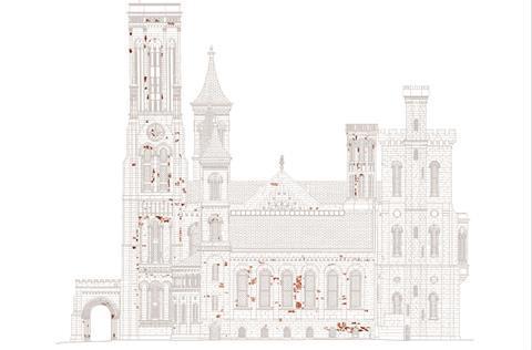Architectural illustration of Smithsonian Castle showing rock varnish