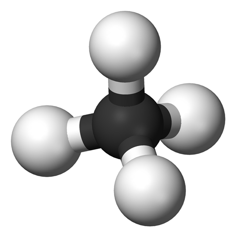 Methane structure 3D balls