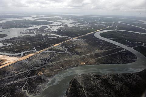 An aerial image showing pollution in the Niger Delta