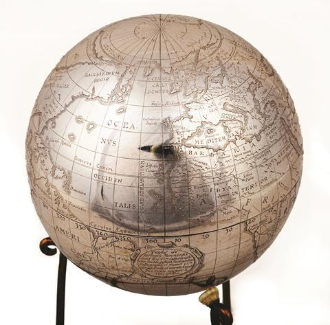 0218CW - Comment - Silver terrestrial globe at the Whipple Museum of the History of Science
