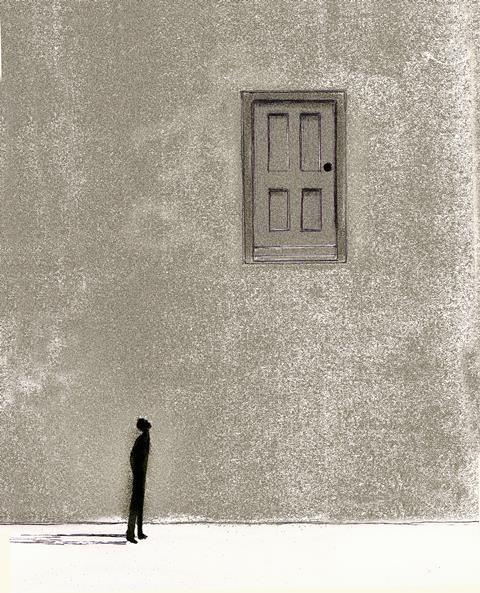 An illustration showing a man looking up towards a door; there is no ladder to access it