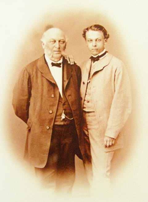 Ernst Büchner (right) with his father Wilhelm, Pfungstadt, Germany, c. 1865