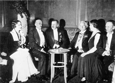 Vera and Chaim Weizmann, Herbert Samuel, Lloyd George, Ethel Snowden and Philip Snowden