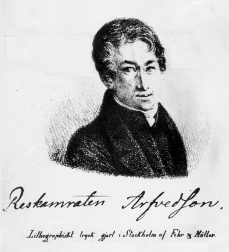 Lithograph of Johan August Arfwedson (1792 - 1841), the Swedish discoverer of the chemical element lithium