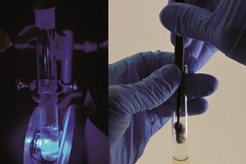 Photo showing 2 images side by side, demonstrating a reaction setup under LED irradation