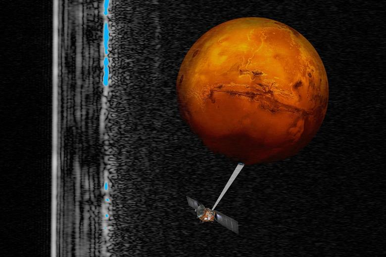 First firm evidence for liquid water on mars research chemistry artistic impression of the mars express spacecraft probing the southern hemisphere of mars urtaz Images