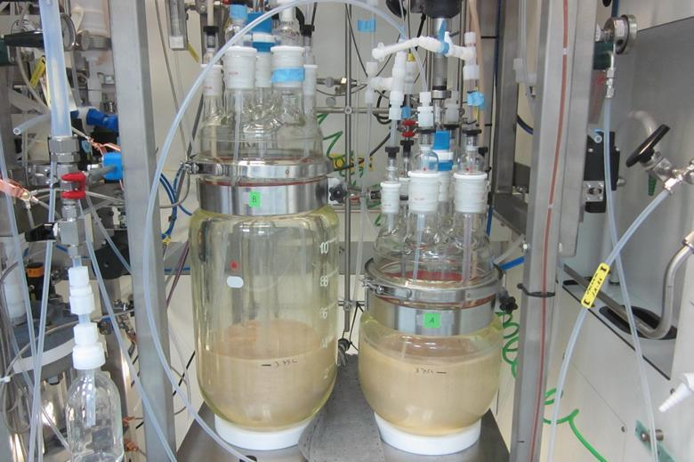 Photograph of continuous crystallizers during processing