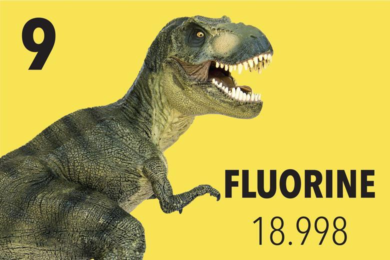 An image showing a T Rex entering the fluorine tile of the periodic table
